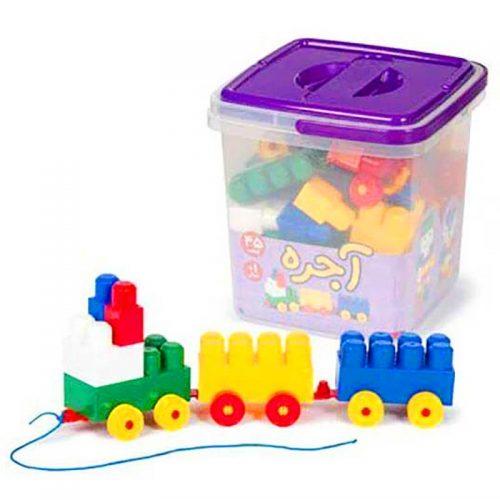 اسباب بازی آجره سطلی 45 قطعه با فرزندان 1