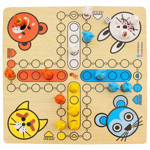 فکر بازینوبازی رومیزی منچ و مار پله طرح حیوانات صفحه چوبی 4