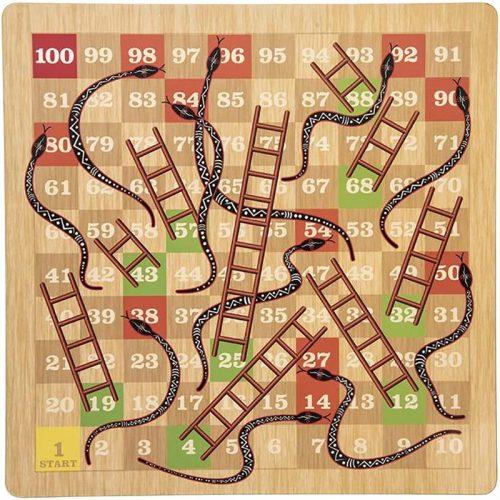 بازی منچ و مارپله چوبی فکربازینو 3