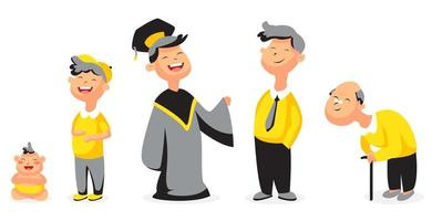 set of illustrations of people all ages free vector
