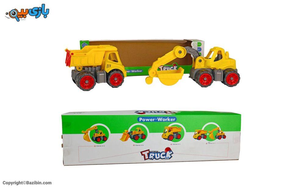 بازی پک کامیون و بیل مکانیکی کیوان تویز 4